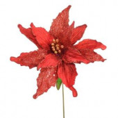 26-1/2 in. Red Single Poinsettia Stem (Set of 12)
