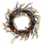 26 in. Black Glittered Halloween Wreath with Lights