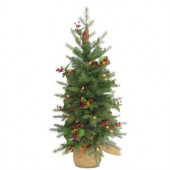 3 ft. Nordic Spruce Artificial Christmas Tree with Battery Operated Warm White LED Lights