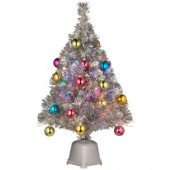 32 in. Silver Fiber Optic Fireworks Ornament Artificial Christmas Tree