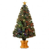 4 ft. Fiber Optic Fireworks Artificial Christmas Tree with Gold Lanterns