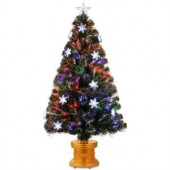 4 ft. Fiber Optic Fireworks Artificial Christmas Tree with Snowflakes