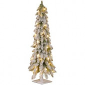 4 ft. Snowy Downswept Forstree Artificial Christmas Tree with Metal Plate and Clear Lights