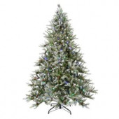 7.5 ft. LED Pre-Lit Snowy Pine Artificial Christmas Tree with Pine Cones and Multi-Color Lights