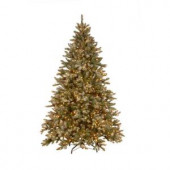 7.5 ft. Pre-Lit Snowy Pine Artificial Christmas Tree with Clear Lights and Pine Cones