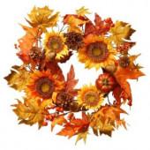 Harvest Accessories 22 in. Sunflower Artificial Wreath with Pumpkin