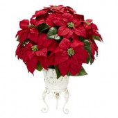 21.0 in. H Red Poinsettia with Metal Planter Silk Flower Arrangement