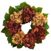 24 in. Autumn Hydrangea Artificial Wreath