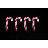 14 in. 80-Light White LED Decorative Candy Cane (Set of 4)