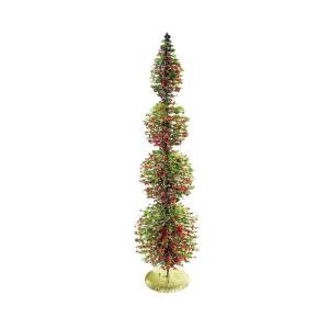 18 in. Rattan and Berries Christmas Tree with 4 Circular Shaped Tiers