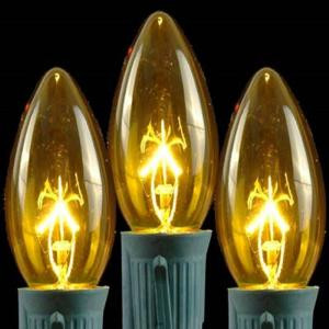 C9 Yellow Replacement Christmas Light Bulbs - Transparent (Box of 250)