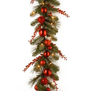 Decorative Collection 9 ft. Christmas Red Mixed Garland with Battery Operated Warm White LED Lights