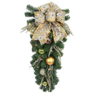 32 in. LED Pre-Lit Manhattan Artificial Swag with Ribbons, Baubles, and 35 Battery-operated Warm-white Lights