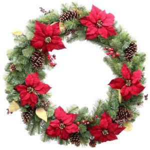 36 in. Unlit Burgundy Poinsettia Artificial Wreath