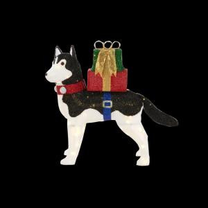42 in. LED Lighted Fuzzy Husky