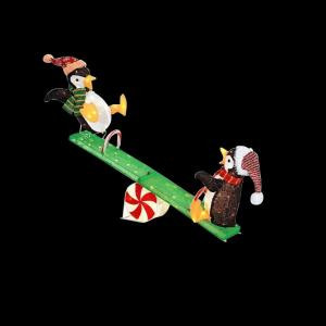 48 in. LED Lighted Tinsel Penguins on Seesaw