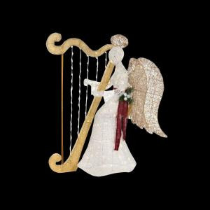 55 in. LED Lighted White PVC Sitting Angel with Harp