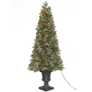 6.5 ft. Greenland Potted Artificial Christmas Tree with 250 Clear Lights