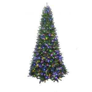 7 ft. to 10 ft. LED Pre-Lit Adjustable Rising Artificial Spruce Christmas Tree