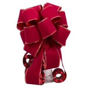 Red Flocked Bow Tree Topper