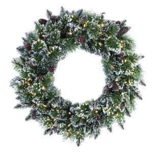 30 in. LED Pre-Lit Glittery Bristle Pine Artificial Christmas Wreath