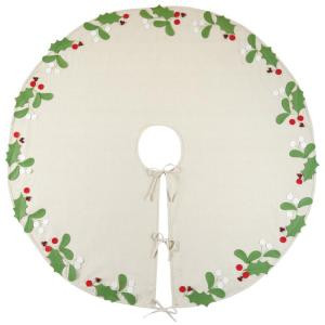 52 in. Holly and Berries Christmas Tree Skirt