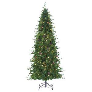 8 ft. Indoor Pre-Lit Bristle Cone Pine Slim Hinged Artificial Christmas Tree