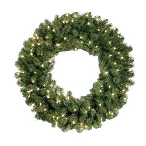 30 in. Feel-Real Downswept Douglas Fir Artificial Wreath with 100 Clear Lights