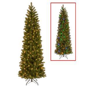 7.5 ft. Downswept Douglas Pencil Slim Fir Artificial Christmas Tree with Dual Color LED Lights