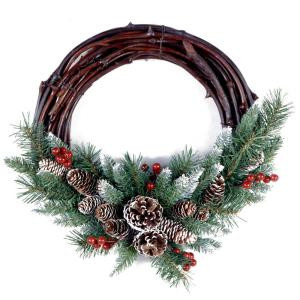 Frosted Berry Grapevine 26 in. Artificial Wreath