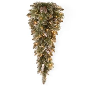 Glittery Bristle 36 in. Pine Teardrop with Battery Operated Warm White LED Lights