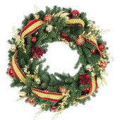 30 in. Battery Operated Plaza Artificial Wreath with 50 Clear LED Lights
