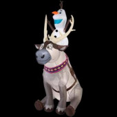 35.83 in. W x 58.27 in. D x 90.16 in. H Lighted Inflatable Olaf Sitting on Sven Scene