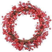48-Light LED Red 24 in. Battery Operated Berry Wreath with Timer