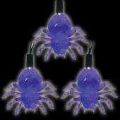 Battery Operated 10-Light LED Purple Halloween Spider Light Set (Set of 2)