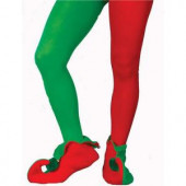 Adult Plus Size Red and Green Elf Tights