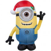 42 in. H Inflatable Minion Stuart with Santa Hat