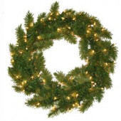 24 in. Pre Lit Carolina Fir Artificial Wreath with Clear Lights