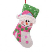 19 in. Polyester/Acrylic Hooked 3D Snowman Christmas Stocking