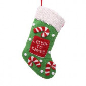 19 in. Polyester/Acrylic Hooked Christmas Stocking with 3D Candy Cane