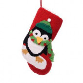 19 in. Polyester/Acrylic Hooked Christmas Stocking with 3D Penguin