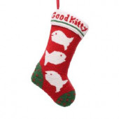 19.5 in. Polyester/Acrylic Hooked Christmas Stocking with Fish Image