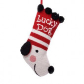 20 in. Polyester/Acrylic Hooked Christmas Stocking with Lucky Dog