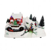 12 in. North Pole Christmas Scene with Santa's House and Animated Train