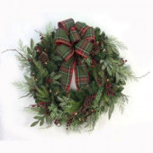 32 in. Pre-Lit Woodland Tales Artificial Christmas Wreath with Plaid Ribbon, 50 Battery-Operated Warm White LED