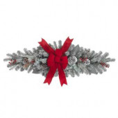 44 in. Snowy Mail Box Swag with Red Velvet Bow