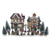 6.1 in. H Lighted School Village Set (20-Piece)