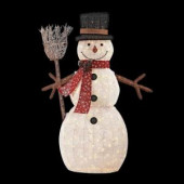 72 in. LED Lighted PVC Cotton String Snowman with Broom