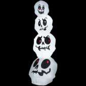 8 ft. - Airblown Lighted Stacked White Skulls