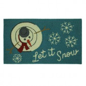 Let It Snowman Top 17 in. x 29 in. Hand Hooked Holiday Mat